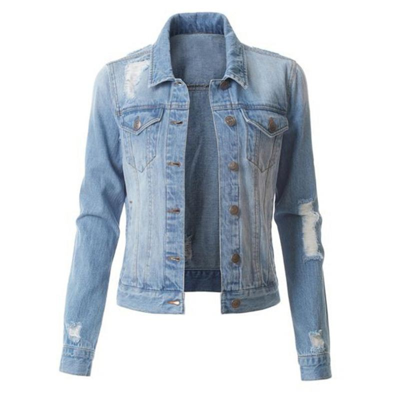 Wholesale sales of women's denim jackets fashion <strong>holes</strong> washed denim jackets