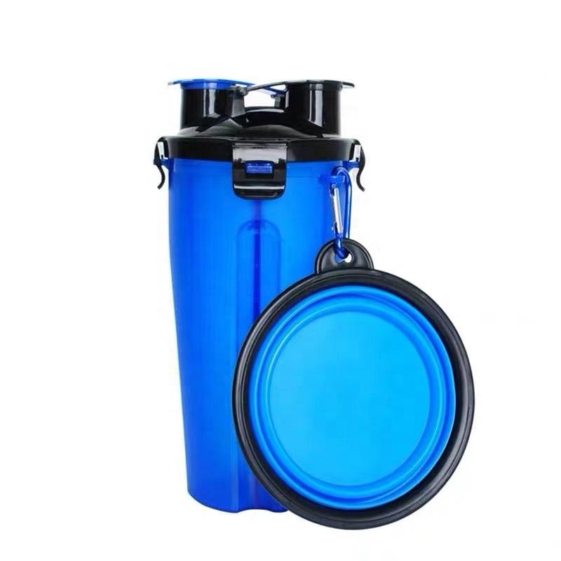 250ml 350ml blau tragbare reise pet kunststoff wasser flasche zuführung mit schüssel