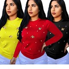 Latest Wool lycra women long sleeve top with Bee decoration 2019 Hot autumn winter casual tops FM-J6105