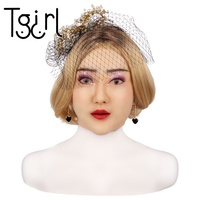 Tgirl Disguise Masquerade For Man Feminine Silicone Female Headwear Realistic Goddess Face For Halloween Crossdresser