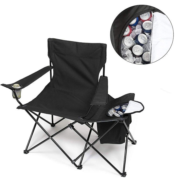 OEM outdoor portable luxury best lightweight quad parts foldable fishing camping chair with cooler bag for picnic