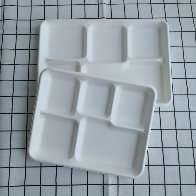 Bagasse 5 Compartment Tray 5 Compartment Paper Plates Biodegradable