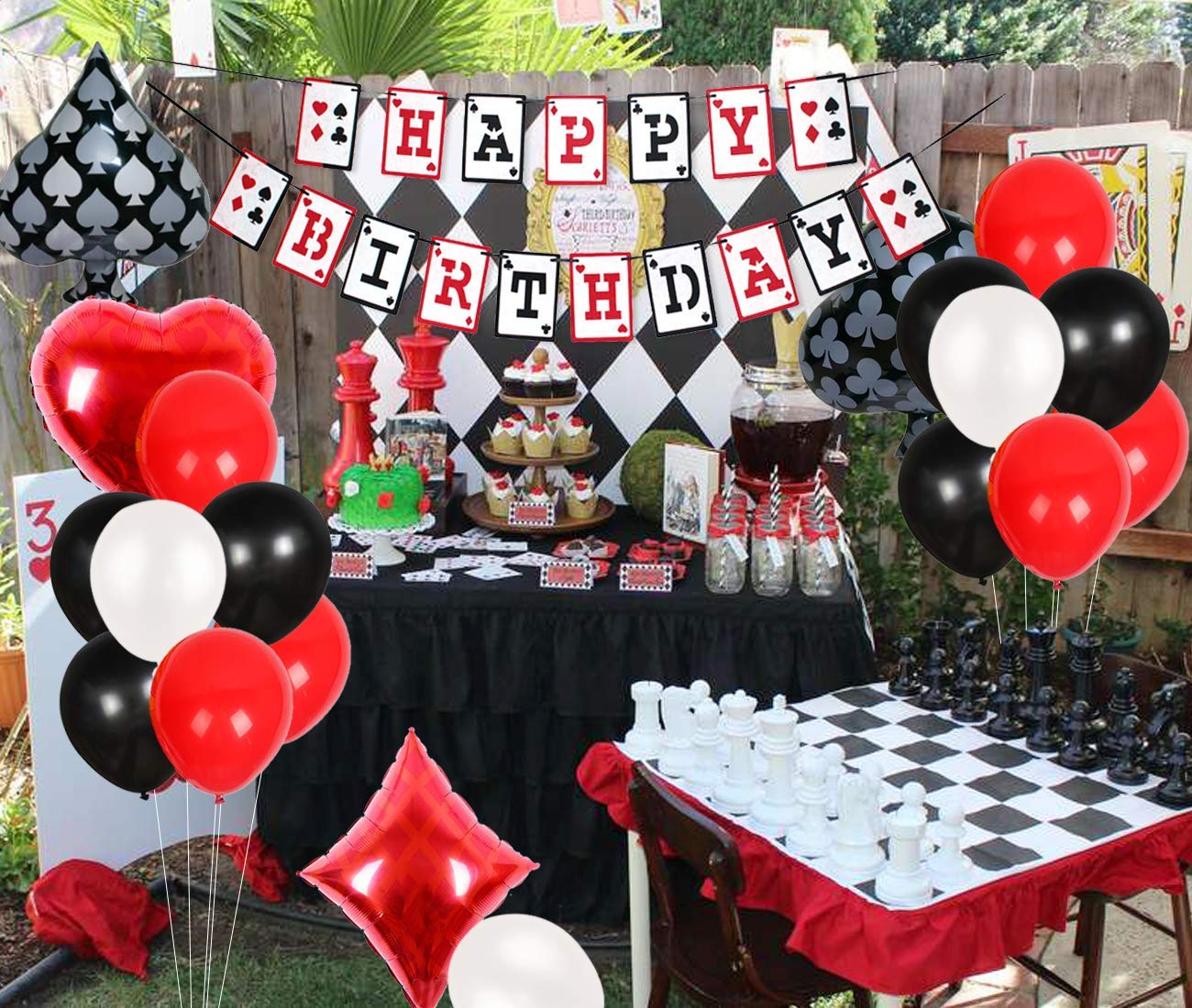 Casino Party spade, heart, club, diamond foil balloons happy birthday banner for birthday party decorations