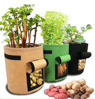 Heavy Duty 7 Gallon Thickened Nonwoven Garden Fabric Plant Felt Mushroom Potato Grow Bags Pots with Strap Handles for Planters