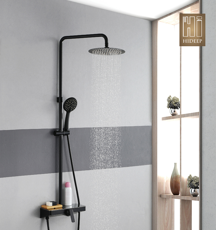 HIDEEP Wall-mounted shower set stainless steel 25*25cm shower head hot cold faucet bathroom black shower faucet