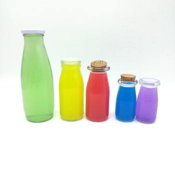 500ml clear glass juice bottle glass milk bottle with plastic wooden tinplate metal lid beverage bottle