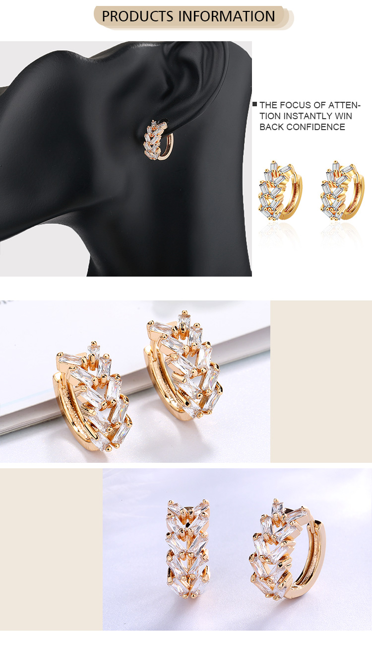 Fashion Jewelry Beautiful Rose Gold Huggie Designed Earrings With Clear Zirconia Stone