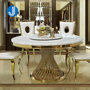 Gold Stainless Steel Dining Table Round