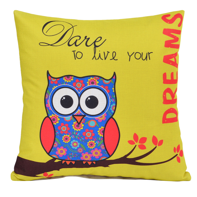 "Owl 80G Linen 18""x 18"" Throw Cheap Cushion Covers  For Home Sofa Car"