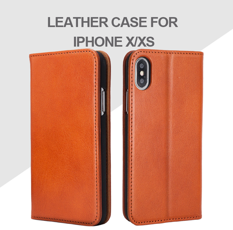 Vegetable tanned leather natural magnetic leather flip mobile phone case  hand made luxury phone covers for iPhone X/XS
