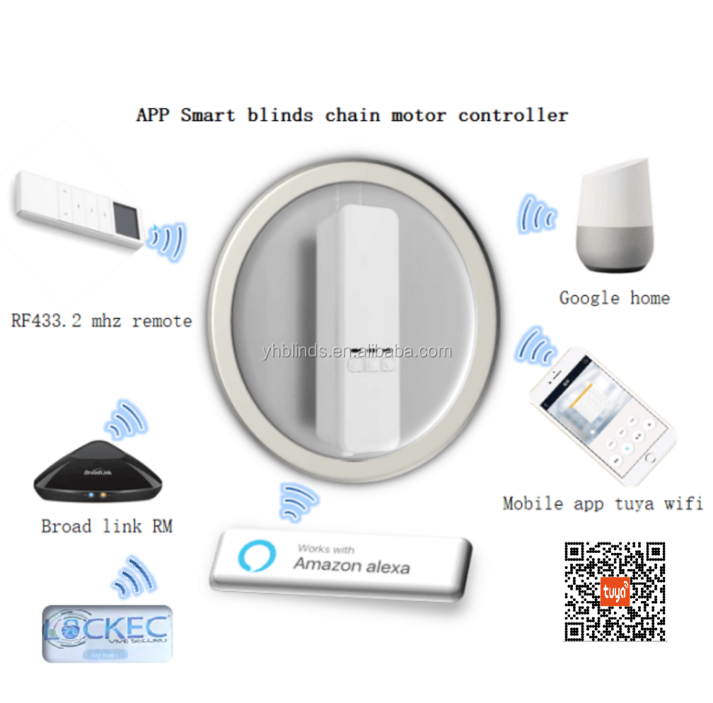 APP Control Smart Blinds Drive Motor,DIY Home Automation Devices, Powered by Solar Panel and Recharger
