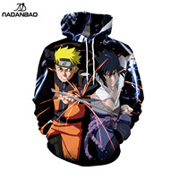 NADANBAO Naruto 3d full printing sublimation hoodies men cheap high quality hoodies anime