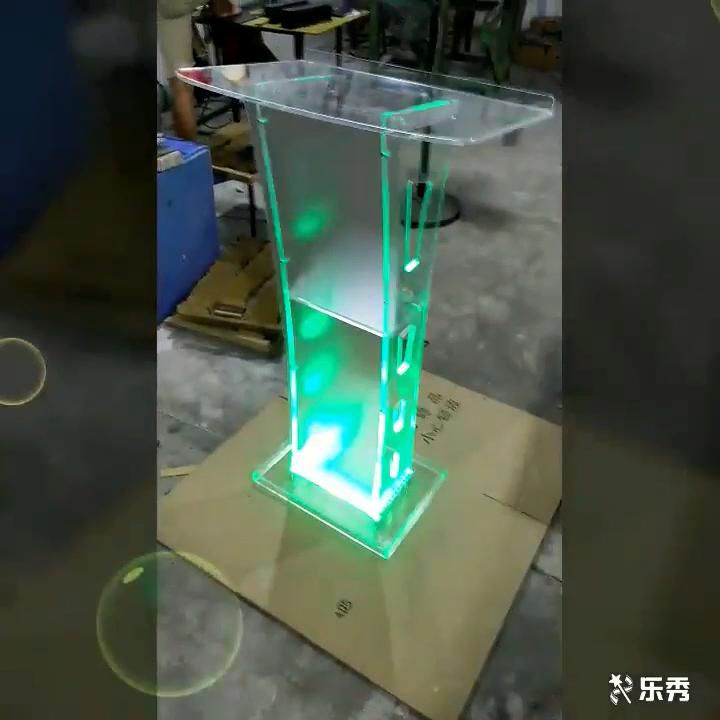 맞춤형 로고 현대 아크릴 스마트 연단 Plexiglass Pulpit 학교 교회 Lectern LED 라이트