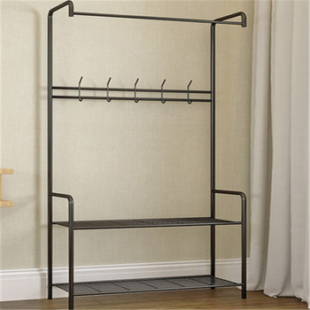 Entryway coat rack stand with storage shelf and removable hooks