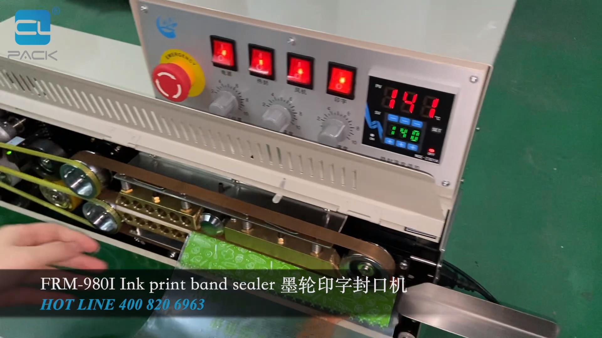 FRM-980 Lanche Bolsa de Café Saco De Plástico selador faixa Contínua Máquina De Vedação com a Codificação De Tinta CLPACK