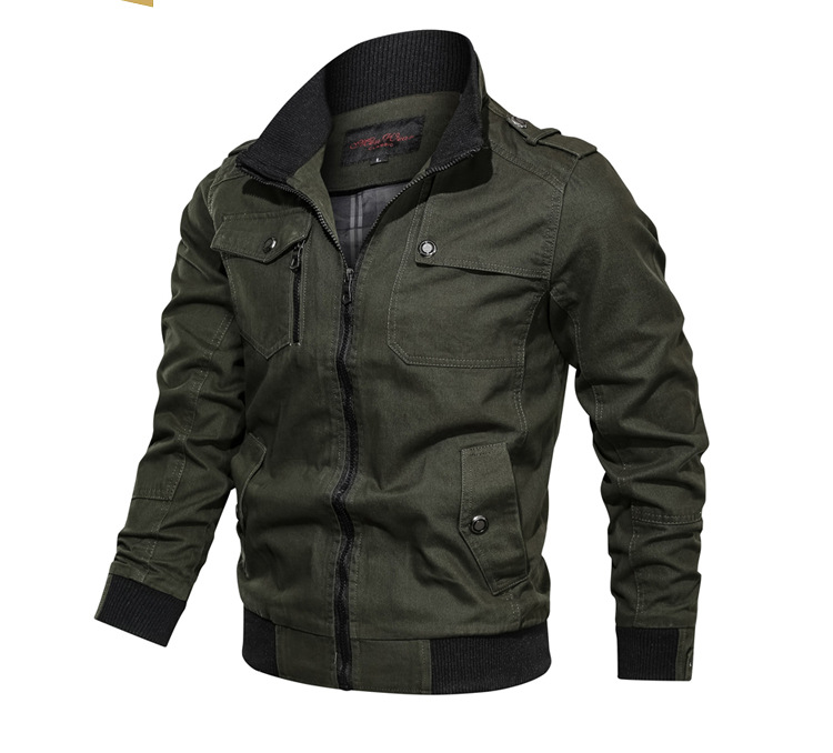 Chinese factory Autumn men's Jackets & coats Canvas fabric Zipper-up Rib Stand Collar Plus size Jackets 100%Cotton Outdoor  Coat