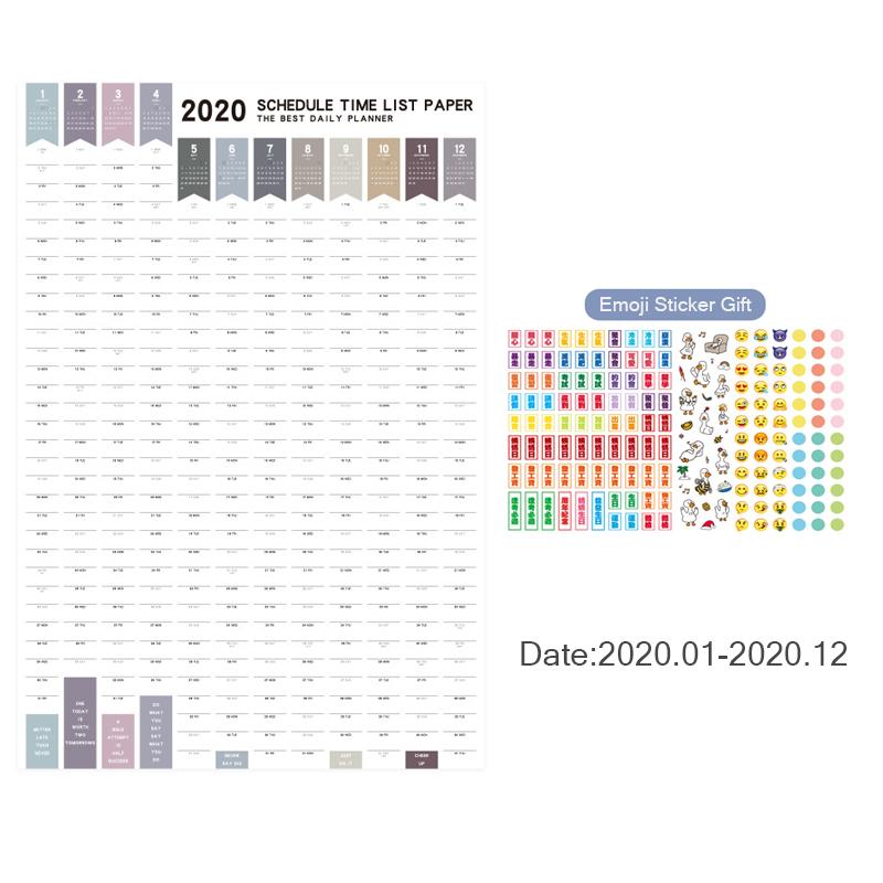 2020, настенный календарь, планировщик, органайзер, Kawaii, ежедневное обучение, план, расписание, наклейки, большая бумага для офиса, школьные пр...(Китай)