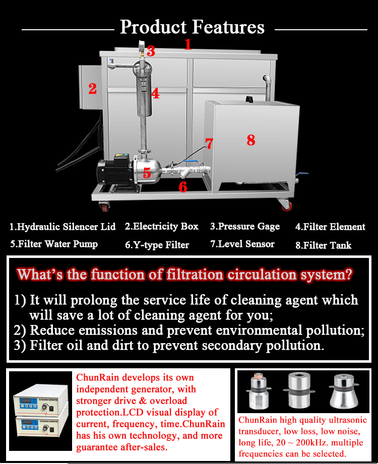 Industrial ultrasonic cleaner for auto parts DPF engine block carbon cleaning machine with oil filter system 38L-5000L