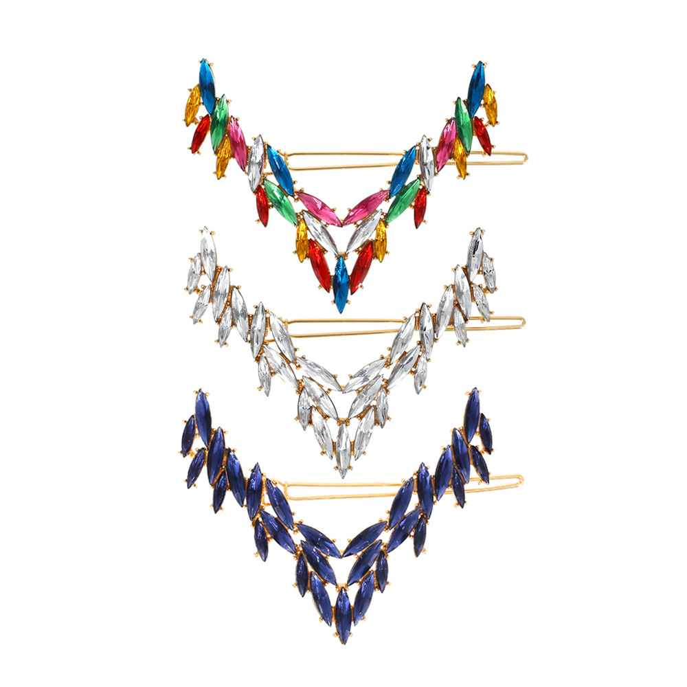 European and American Personality Geometric <strong>V</strong> Shaped Big Crystal Hair Clips for Women