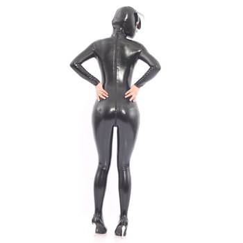 Halloween Adult Costumes Black Latex Catsuits with Dog Hood