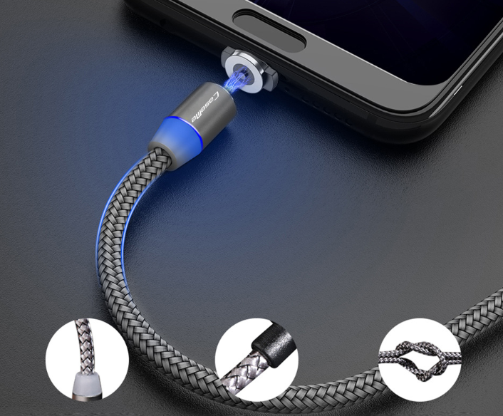 360 LED Magnetic Charging Kabel für iPhone XR XS MAX X 8 7 6 Plus Handy Magnet Ladegerät Micro USB Kabel Typ C Draht
