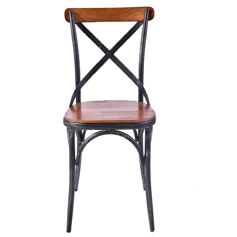 Wooden seat cross back X shape backrest dining chair