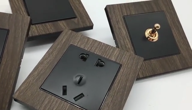 Custom Logo OEM Brand Residential General-Purpose Wood Grain Electric USB Wall Socket And Switches 220V