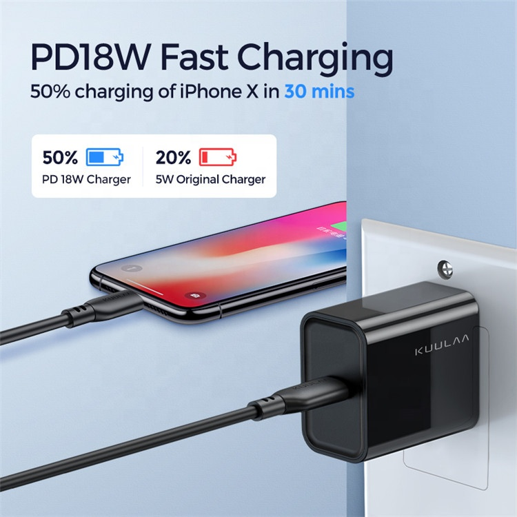 KUULAA Mfi Certification Mobile Phone Accessories Date Transfer 0.5m 1m 18W 3A PD Fast Charging Cable Type-c For iPhone