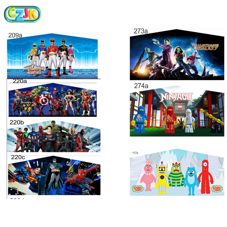 13x13 pvc material customized inflatable promotional bounce house vertical superhero bouncy banner for jumper moonwalk