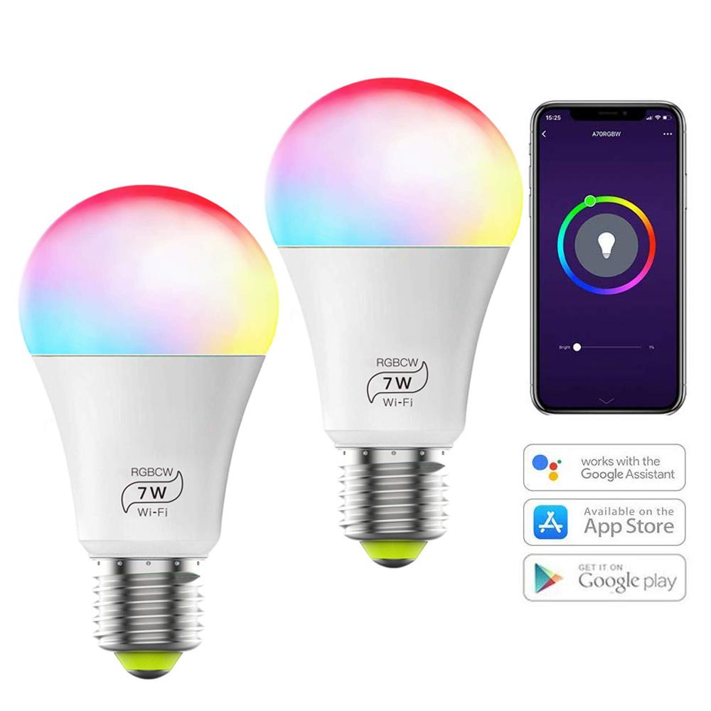 E27 Multicolor 60w Equivalente RGBCW 2700 K-6500 K 7W WiFi Smart Light Lampadina Compatibile con il Telefono google Casa e IFTTT