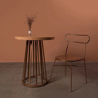 High Quality Simple Brown Retro Ironing Coffee Cake Living Room Table Round Bar Table Side Table Modern