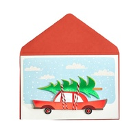 Hot Sale 3D Handmade Merry Christmas Cards, Holiday Car Wrap Tree Greeting Cards
