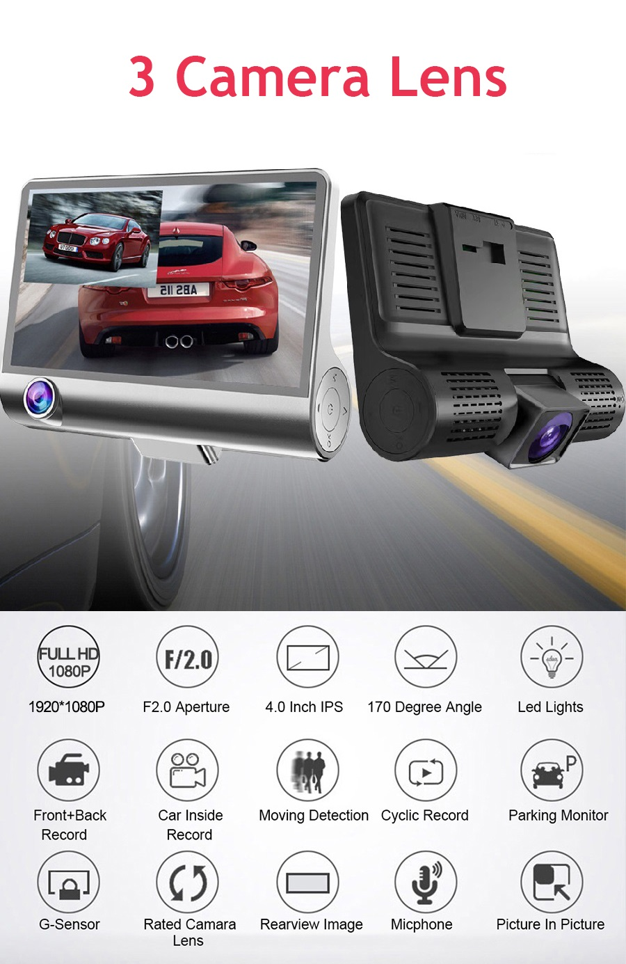 170 degree wide angle Car DVR Camera Video Driving Recorder mirror dash cam 1080p