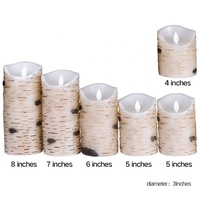 Set of 6 Flameless LED Candles Flickering Light Pillar Real Birch bark Wax with Timer and 10-key Remote