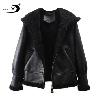 High quality ladies' leather coat with fur hood winter warm casual leather women coat fashion style sheep leather coats