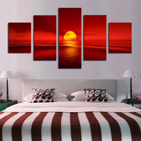 Modular Home Decor 5 Pieces Sunset Red Sun Sea Poster Seascape Nature Canvas Wall Art Paintings