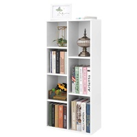 High quality Large Bookcase Wooden Shelving Display Storage Unit 5-shelf White
