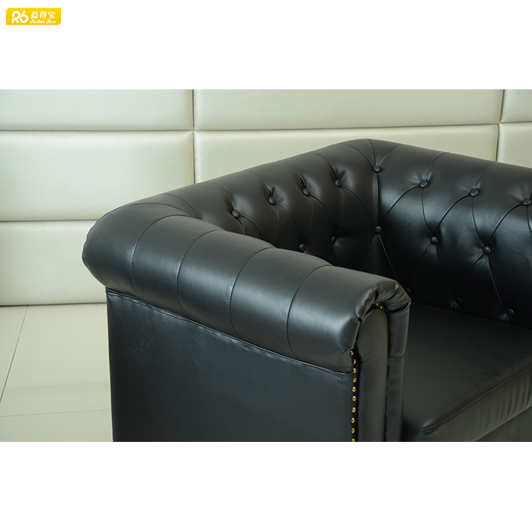 Sofa manufacturer direct supply antique style black leather chesterfield sofa