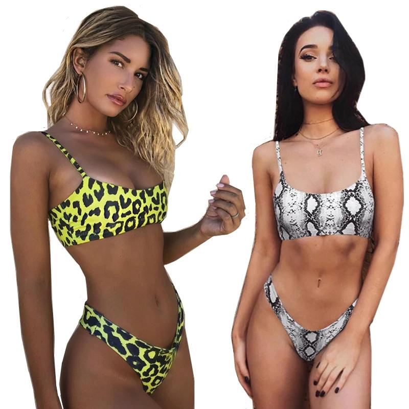 Leopardo Mulheres Swimwear Biquínis Sexy Maiô Feminino Beachwear Natação Bikini para Senhoras