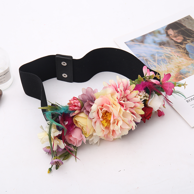 New Bohemia Bridal Belts With Flowers Women Sash Wedding Party Bride Bridesmaid Satin Belt Dress