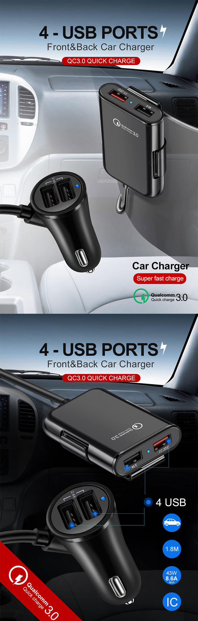 Universal USB Fast Adapter With 5.6ft Extension Cord Cable for MPV Car Phone 4 Ports FAST 3.0 3.1A USB for iPhone Charger Car