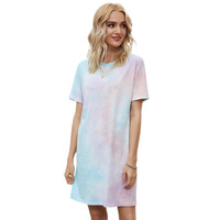 Hot Sale Summer Women Round Neck Loose Short Sleeve Gradient Above Knee Dress