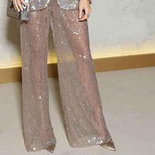 Женский Повседневный костюм с блестками, прозрачный Блейзер и штаны с блестками, вечерние комплекты одежды в европейском стиле, 2019(Китай)