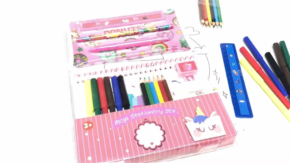 ड्राइंग सेट पानी के रंग का पेन/रंगीन पेंसिल/नोटबुक स्टेशनरी पेंट सेट बच्चों के छात्रों को उपयोग