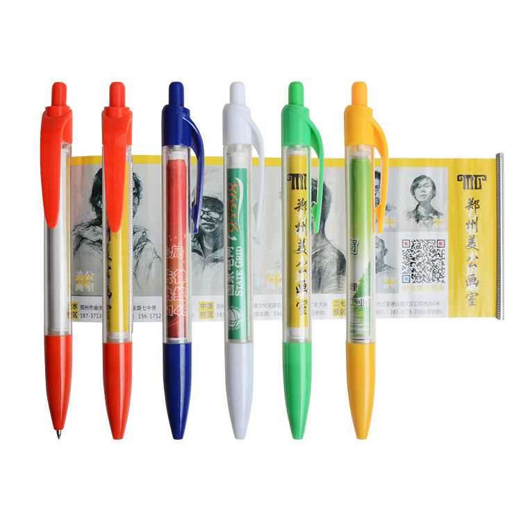 Plastic Personalized Custom Made Cheap Banner Ball Pen with Scroll Advertising
