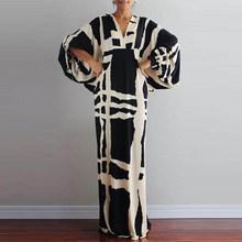 Винтажное богемное платье с v-образным вырезом и геометрическим принтом, женское летнее платье с рукавом-фонариком 2020, вечерние платья, элег...(Китай)