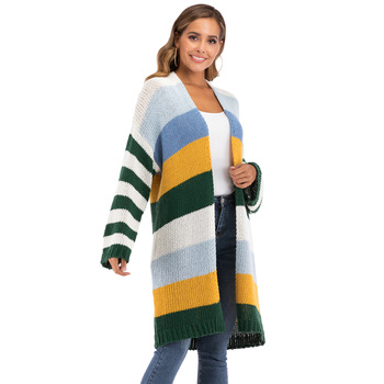 A1890 Women Winter Long Sleeve Striped Colors Cardigan Sweater
