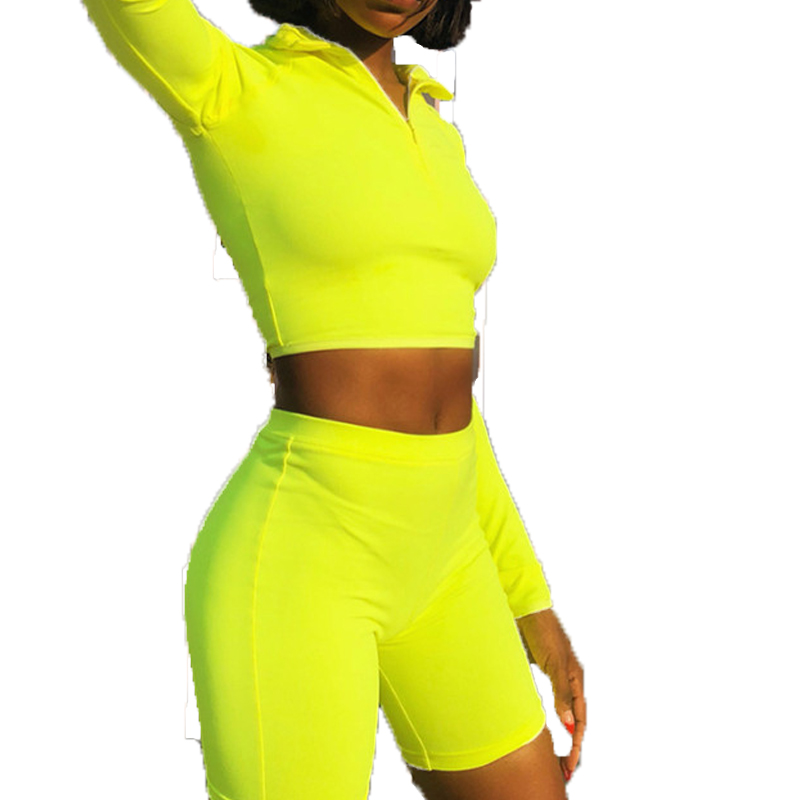 long sleeve Top Biker Shorts Matching Sets Sweatsuit Sexy 2 Piece Sets Tracksuit