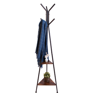 2 tiers antique wooden metal industry rustic storage coat hat rack for home bed living room hotel commercial