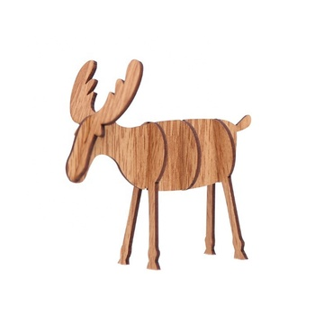 Children's Creative Gift Desktop Decoration Wooden DIY Elk Decoration